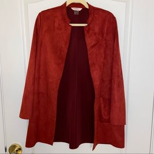 Tanjay Petite 3/4 Mid Length Collarless Suede Coat